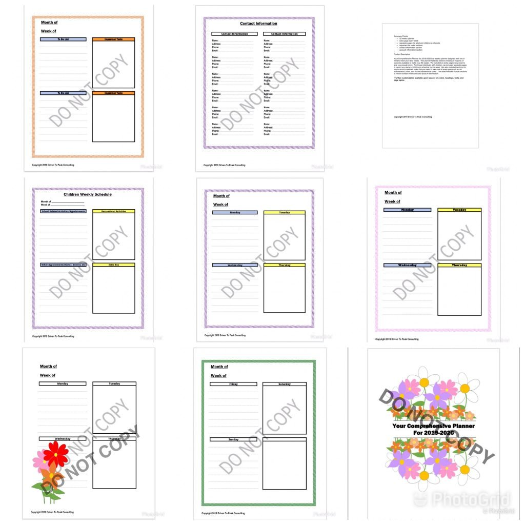 Sample page templates from Your Comprehensive Planner For 2019-2020.
