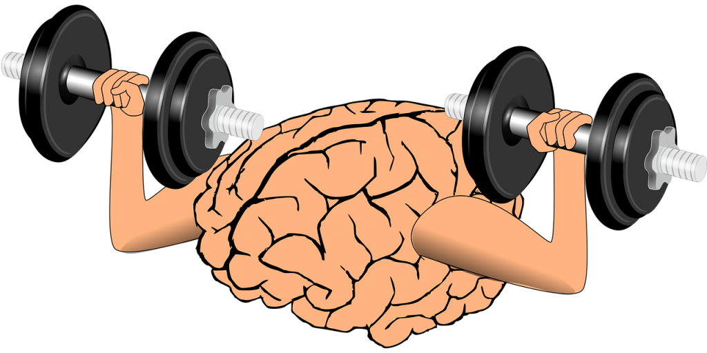 brain lifting weights symbolic of performance and sport psychology, which aims to help individual's brain to gain strength to improve performance by learning mental skills from a performance enhancement consultant