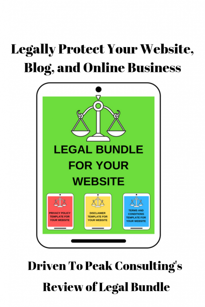 Driven To Peak Consulting's Review of the legal bundle that contains privacy policy, disclaimer, and terms and conditions templates to legally protect your website, blog, and online business